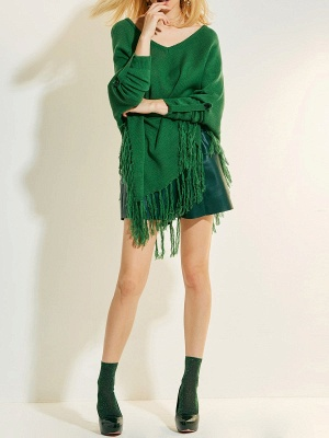 Green V neck Batwing Casual Sweater_4