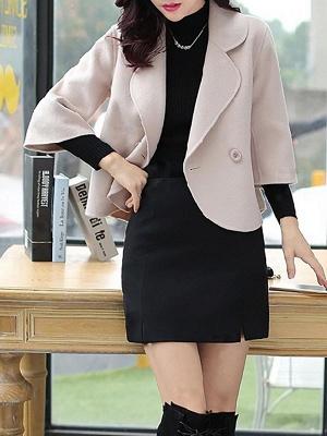Work 3/4 Sleeve Shift Shawl Collar Buttoned Coat_6