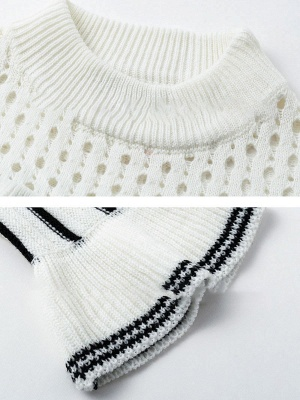 White Casual Printed Sweater_5