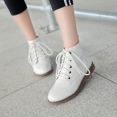 Low Heel Lace-Up Pointed Toe Boots_4