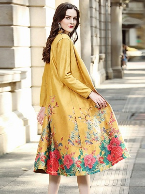 Long Sleeve Stand Collar Floral Printed Pockets Coat_6