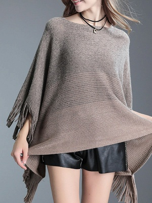 Fringed Batwing Casual Wool Sweater_2