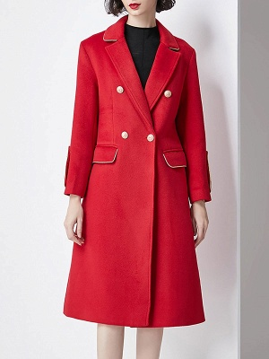 Red Buttoned Solid Work Pockets Lapel Coat_1