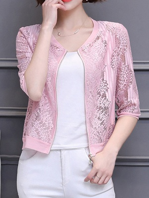 3/4 Sleeve Shift Crew Neck See-through Look Guipure lace Coat_2