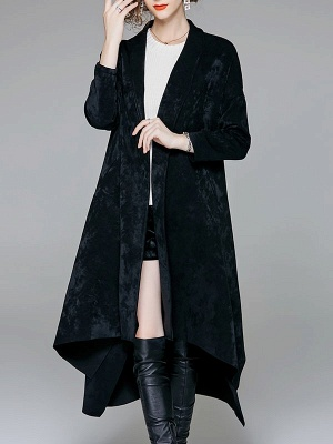 Red Buttoned Asymmetrical Long Sleeve Coat_2