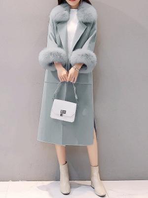 Long Sleeve Shawl Collar Paneled Pockets Slit Fluffy Coat_6