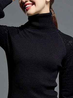 Casual Balloon Sleeve Knitted Sweater_9