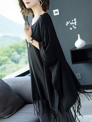 Casual Batwing Crew Neck Fringed Solid Sweater_4