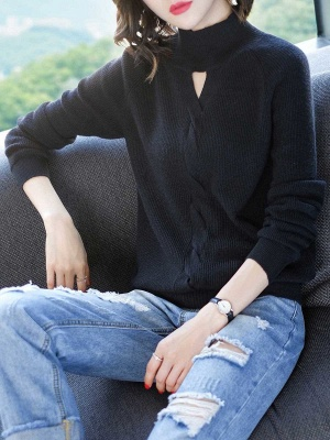 Solid Casual Long Sleeve Cutout Turtleneck Sweater_3