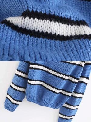 Striped Printed Bateau/boat neck Casual Sweater_6