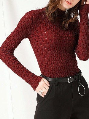 Stand Collar Casual Long Sleeve Wool Cable Sweater_1