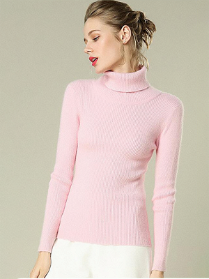 Sheath Turtleneck Ribbed Casual Long Sleeve Sweater_2