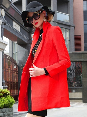 Red Solid Work Cotton Buttoned Pockets Patch Coat_3