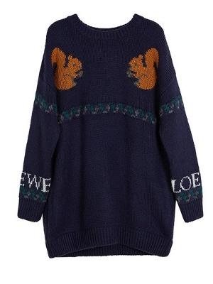 Dark blue Crew Neck Long Sleeve Casual Sweater_7