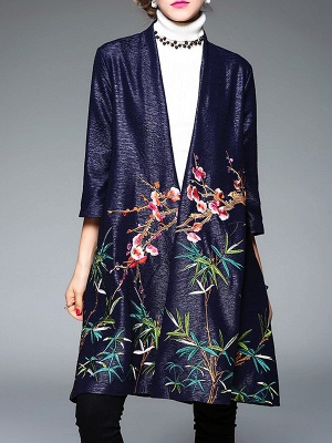 Casual Stand Collar Floral 3/4 Sleeve Coat_2