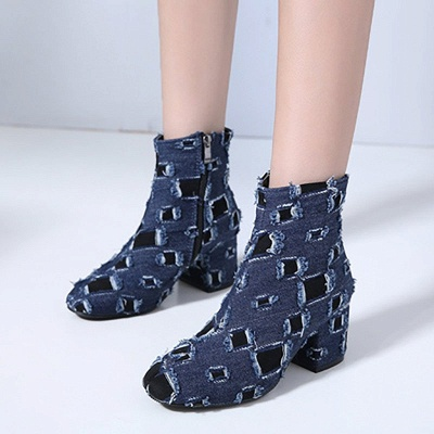 Daily Hollow-out Chunky Heel Round Toe Boots_2