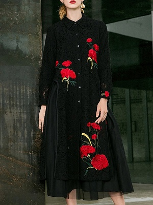 Paneled Long Sleeve Floral Casual Lace Coat_2