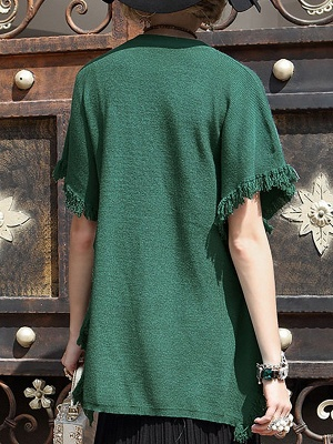 Fringed Solid Casual Short Sleeve Shift Sweater_4