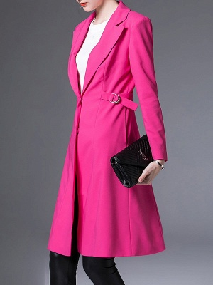 Rose Lapel Work A-line Buttoned Solid Long Sleeve Coat_5