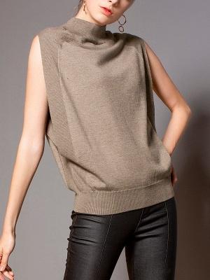 Khaki Solid Turtleneck Casual Sleeveless Shift Sweater_1