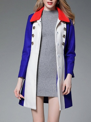 Royal blue Solid Buttoned Pockets Color-block Coat_6