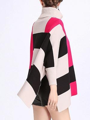 Elegant Shift Batwing Color-block Sweater_6