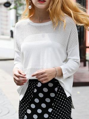 White Cutout Long Sleeve Shift Sweater_1