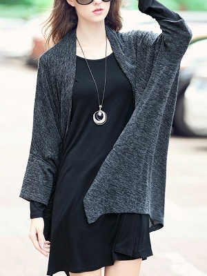 Casual Shift Batwing Pockets Coat_9
