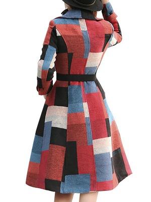 Multicolor Buttoned Color-block Pockets Coat_3
