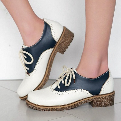 Lace-up Daily Chunky Heel Color Block Oxfords_2