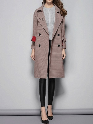 Lapel Work Printed Buttoned Pockets Houndstooth Coats_5