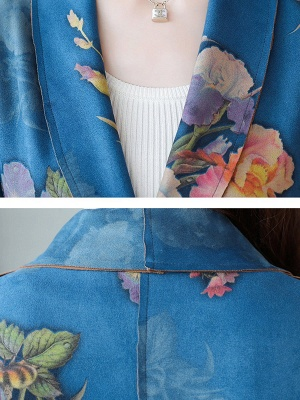 Floral Shawl Collar A-line Floral-print Pockets Long Sleeve Coat_8