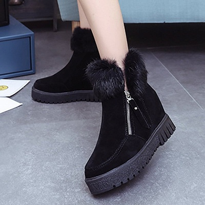 Zipper Fall Suede Chunky Heel Round Toe Boot_7