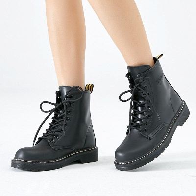 Chunky Heel Lace-up Round Toe Boots_1