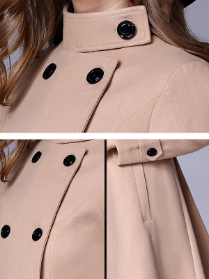 Long Sleeve Casual Wool Stand Collar Coat_11