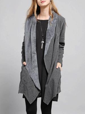 Shawl Collar Asymmetric Solid Casual Long Sleeve Coat_2