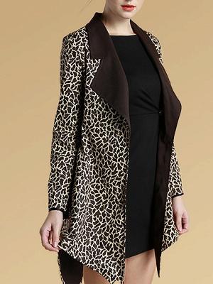 Brown Shawl Collar Asymmetrical Leopard Print  Coat_3