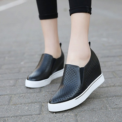 Hollow-out Wedge Heel Daily Pointed Toe Loafers_2