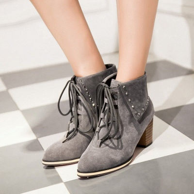 Chunky Heel Daily Rhinestone Pointed Toe Boots_5