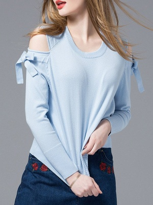 Sky Blue Girly Knitted Cold Shoulder Sweaters_1