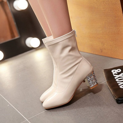 Chunky Heel Zipper Elegant Square Toe Boots_9