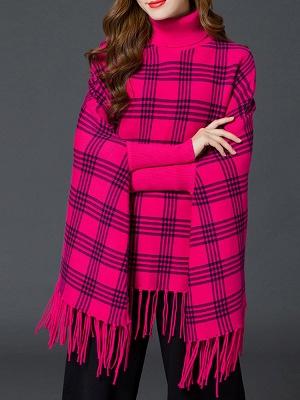 Checkered/Plaid Elegant Batwing Sweater_3