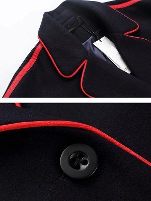 Navy Blue Long Sleeve Cocoon Casual Lapel Coat_6