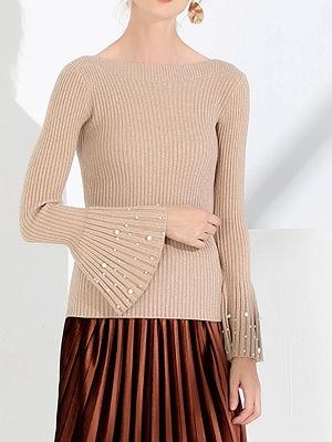 Frill Sleeve Casual Bateau/boat neck Sheath Sweater_2