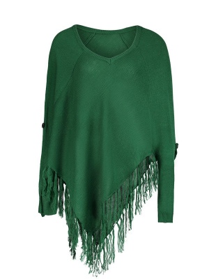 Green V neck Batwing Casual Sweater_7