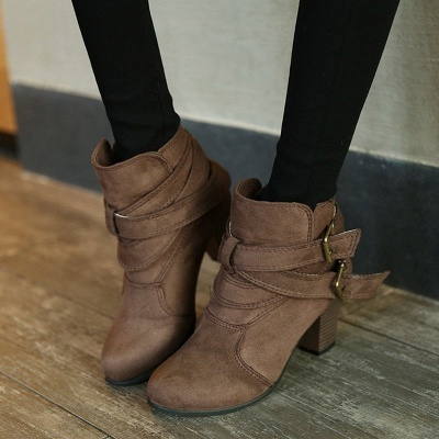 Suede Buckle Chunky Heel Daily Elegant Round Toe Boot_1