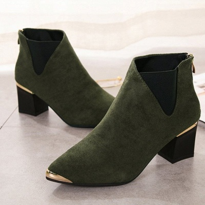 Suede Chunky Heel Pointed Toe Elegant Boot_7