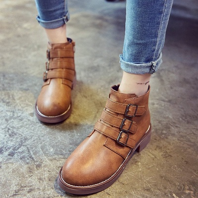 Zipper Daily Chunky Heel Round Toe Buckle Boots_6
