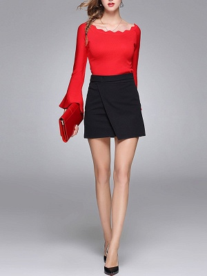Sheath Solid Casual Crew Neck Frill Sleeve Sweater_11