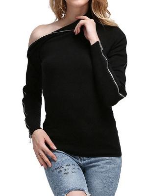 Black Sheath Solid Long Sleeve Zipper Casual Sweater_4